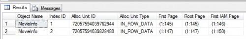 Output from allocation metadata stored procedure