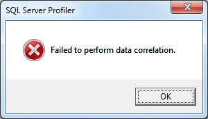Failed to perform data correlation