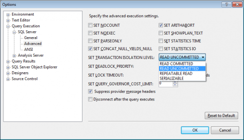 Changing default isolation in SSMS